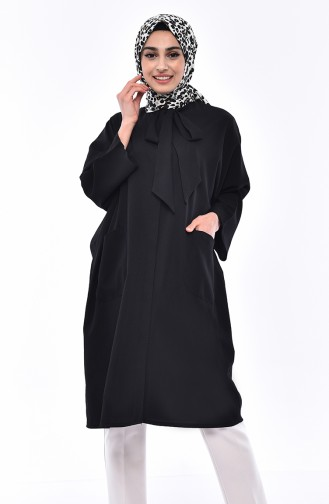 Kravat Yaka Salaş Tunik 5003-01 Siyah