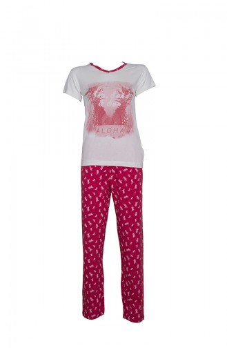 Kısa Kollu Pijama Takımı 2366 Ekru Kırmızı 2366