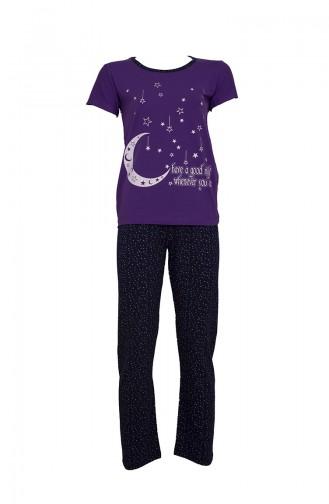 Kısa Kollu Pijama Takımı 2369 Mor Lacivert 2369