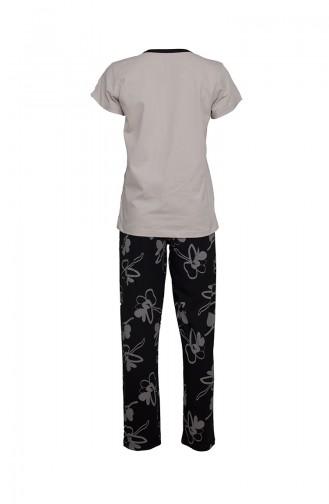 Kısa Kollu Pijama Takımı 2375 Ten Siyah 2375