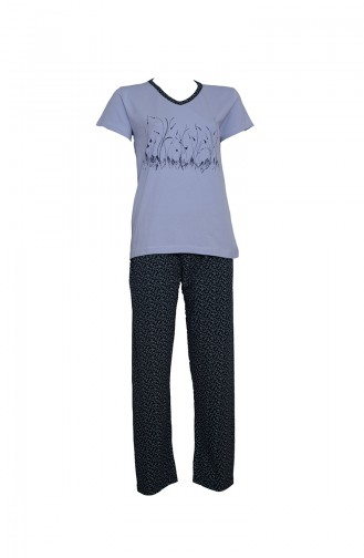 Kısa Kollu Pijama Takımı 2380 Mavi Lacivert 2380