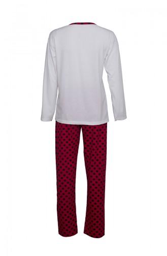 Uzun Kollu Pijama Takımı 2406 Ekru Kırmızı 2406