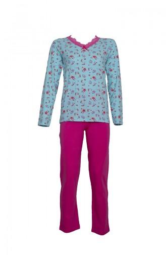 Uzun Kollu Pijama Takımı 2439 Mavi Fuşya 2439