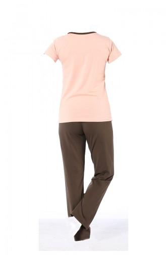 Kısa Kollu Pijama Takımı 3078 Pudra Kahve 3078