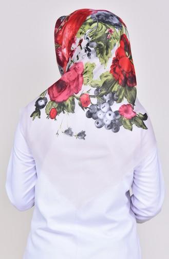 Floral Patterned Drew Cotton Scarf 2224-13 light Beige Red 2224-13