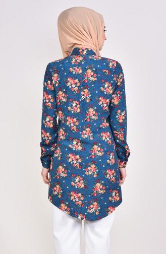 Çiçek Desenli Gömlek 2064-03 Petrol 2064-03