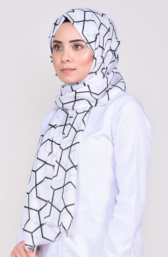 Patterned Cotton Shawl 268-101 White Black 268-101
