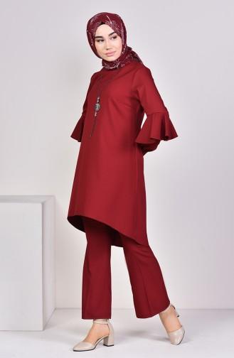 Asymmetric Tunic Pants Binary Suit 1907-03 Claret Red 1907-03