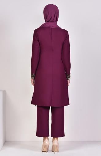 Lace Detailed Tunic Pants Binary Suit 4121-05 Plum 4121-05