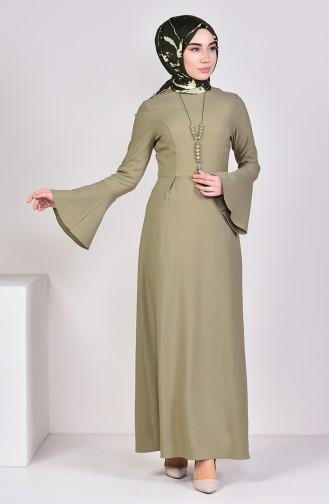 Light Khaki Green İslamitische Jurk 2050-09