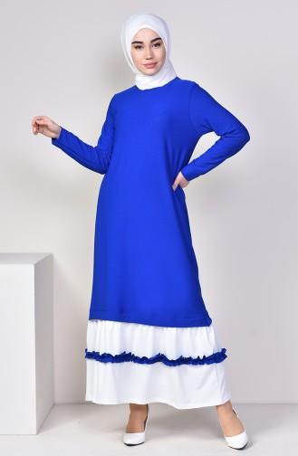 Fırfır Detaylı Elbise 3087-07 Saks