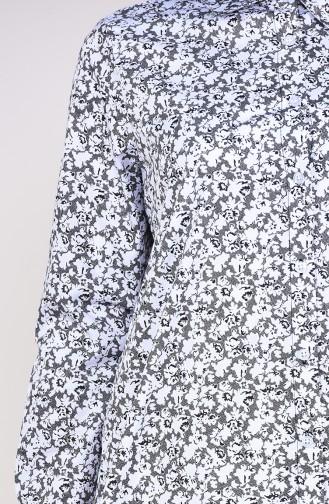 Desenli Düğmeli Tunik 6376-01 Beyaz