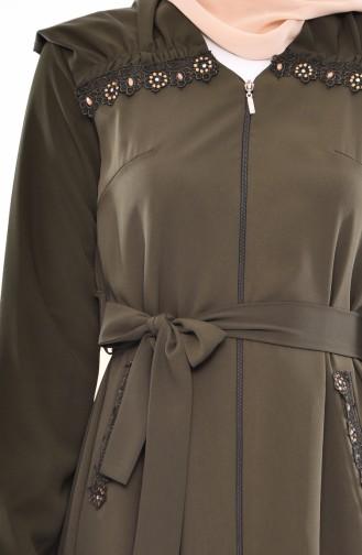 Lace Detail Abaya 1366-01 Khaki 1366-01