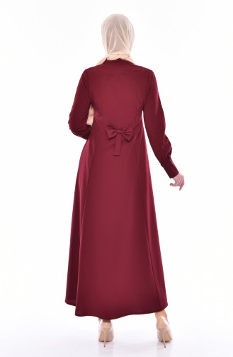 Tie Collar Abaya 1367-01 Bordeaux 1367-01