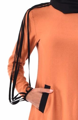 Robe avec Poches en Lin 0224-01 Couleur Cannelle 0224-01