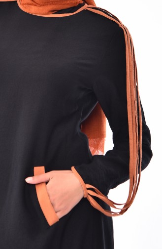 Pocketed Linen Dress  0224-02 Black 0224-02