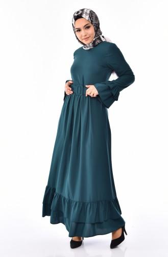Fırfırlı Kemerli Elbise 4519-05 Zümrüt Yeşili