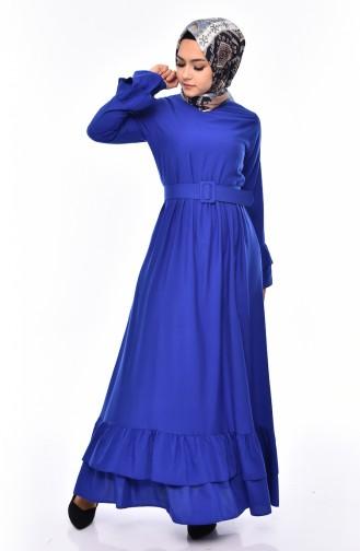 فستان بتفاصيل من الكشكش و حزام للخصر 4519-07 لون أزرق 4519-07