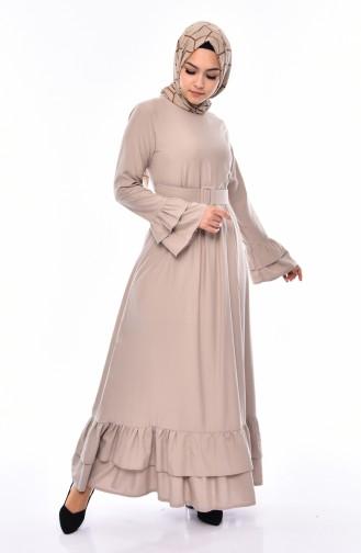 Volant Kleid mit Gürtel 4519-08 Nerz 4519-08