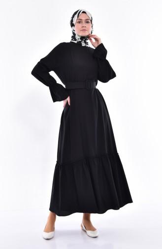 فستان بتصميم حزام للخصر 5024-01 لون أسود 5024-01