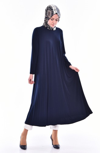 Pleated Long Tunic 4025-01 Navy Blue 4025-01