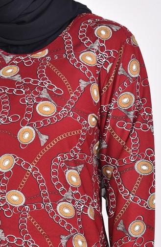 Büyük Beden Desenli Tunik 2005-01 Bordo Hardal