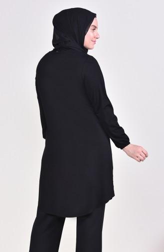 Big Size Button Tunic 50530-04 Black 50530-04