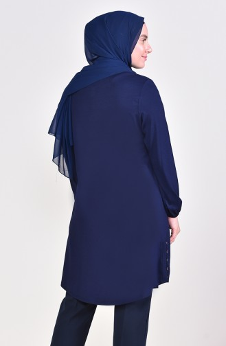 Big Size Button Tunic 50530-05 Navy 50530-05