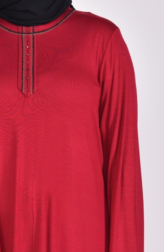 Large Size Embroidered Tunic 50551-06 Bordeaux 50551-06