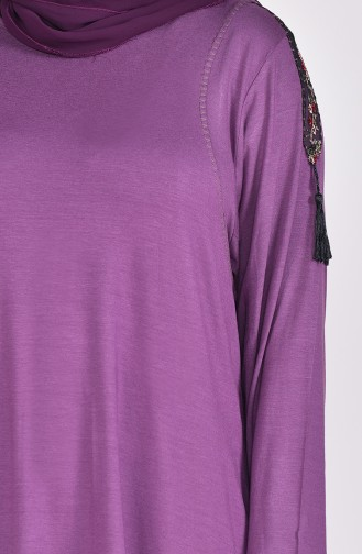 Large Size Lace Detailed Tunic 50507-01 Dark Lilac 50507-01