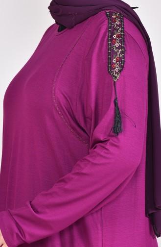Large Size Lace Detailed Tunic 50507-02 dark fuchsia 50507-02