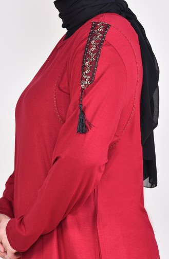 Plus Size Lace Detailed Tunic 50507-04 Bordeaux 50507-04