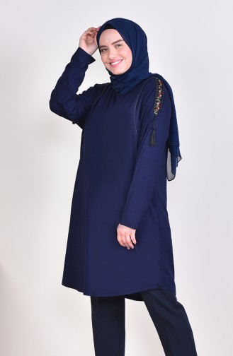 Plus Size Lace Detailed Tunic 50507-06 Navy 50507-06