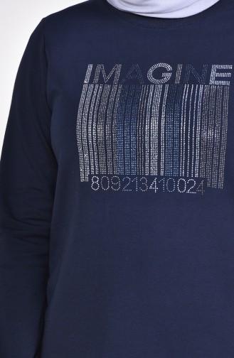 Large Size Stone Printed Tracksuit 10001-02 Navy Blue 10001-02