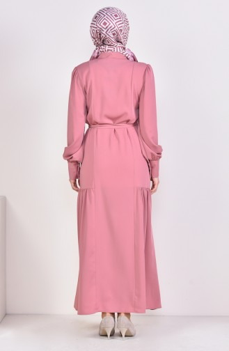 Tie Belted Abaya 1389-01 Dried Rose 1389-01