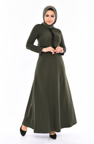 Flocked Printed Pearl Dress 0054-04 Khaki 0054-04