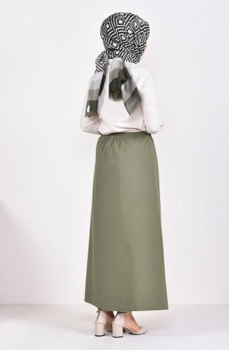 Plated Waist Skirt 1001D-08 Dark Khaki 1001D-08