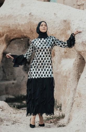 Robe a Paillettes 0189-02 Noir Argent 0189-02