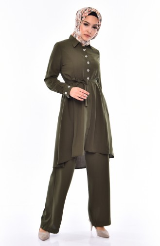 Pearls Tunic Trousers Double Suit 1383-02 Khaki 1383-02