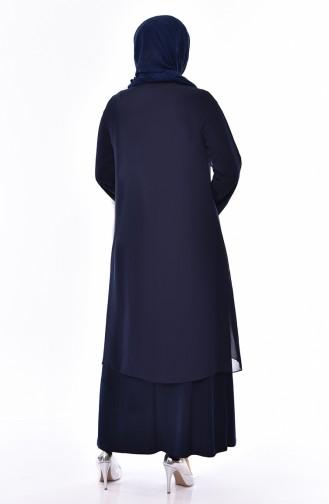 Large Size Stone Printed Evening Dress 1046-02 Navy Blue 1046-02