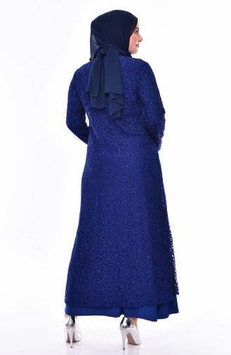 Large Size Necklace Detailed Evening Dress 1059-01 Saks 1059-01