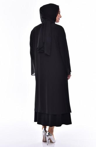 Robe de Soirée Deux Pieces Grande Taille 2412-04 Vert emeraude 2412-05