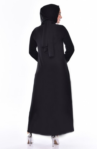 Grosse Grösse Sibernes Abendkleid 5077B-01 Schwarz Silber 5077B-01
