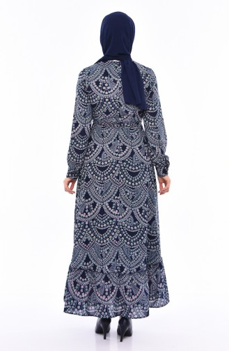 Button Detailed Belted Dress 13063-05 Navy Blue 13063-05