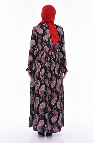 Desenli Yazlık Elbise 3064-03 Lacivert