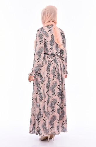 فستان صيفي بتصميم مُطبع 3064 A-01 لون بيج 3064A-01