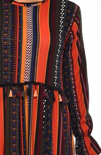 Patterned Summer Dress 3004-01 Black 3004-01