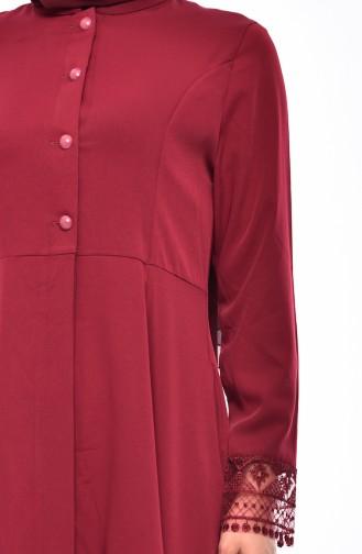 Lace Detailed Tunic 1382-01 Bordeaux 1382-01