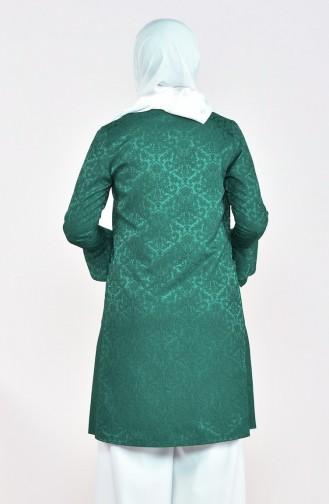 Desenli Ceket 4301-01 Zümrüt Yeşili