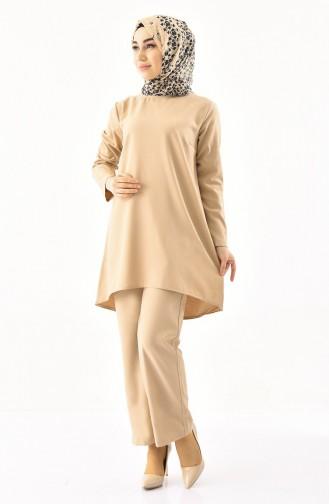 Tunik Pantolon İkili Takım 5247-04 Bej